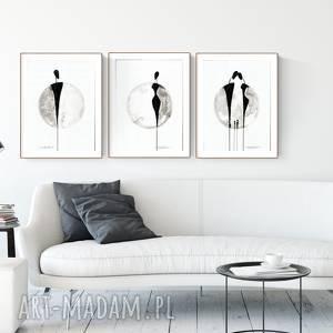 dom zestaw 3 grafik 30x40 cm wykonanych ręcznie, abstrakcja, elegancki minimalizm, obraz