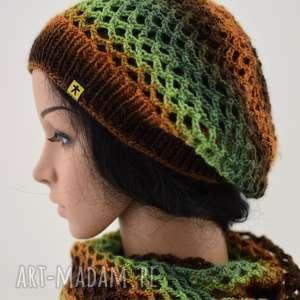 Prezent komplet ażurowy w brązach i zieleniach, komplet, czapka, komin, ażur,