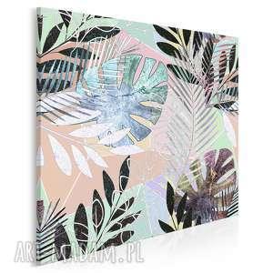 obraz na płótnie - liście egzotyczny tropikalny w kwadracie 80x80 cm 79802