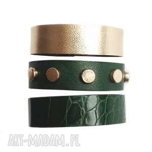 handmade komplet trzech bransoletek skórzanych zielona złota