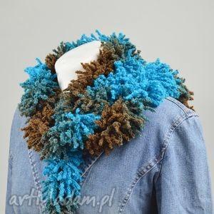 fantazyjny szal - turkus z brązem - szalik, ozdoba, oryginalny, ciekawy, modny