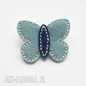 Spineczka do włosów motylek tiffany blue, motylek, filc, ozdoby, spineczka, szyte
