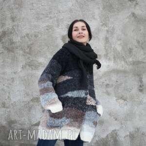 swetry sweter szary, prezent, dzianina, sweter, dla niej, unikat, wełna