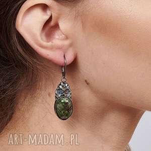 florystyczne kolczyki srebrne z jadeitami carla a766, zielone kolczyki