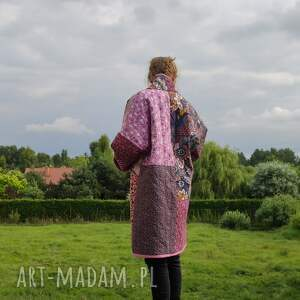 handmade płaszcze płaszcz patchworkowy w stylu boho, długi z kieszeniami, kimonowy