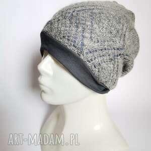 handmade czapki czapka damska szara z niebieskim azuriwa etno boho folk na podszewce