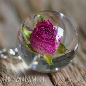 Naszyjnik z żywicy naturalną różową różą, długi, srebny łańcuszek, żywica,