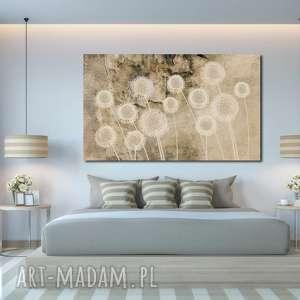 obraz xxl dmuchawce 7 -120x70cm na płótnie, dmuchawce, kulki, mniszek
