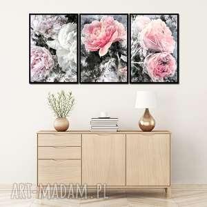 obrazy w ramie kwiaty 9r - 84x40cm piwonie róże obraz, obraz kwiaty