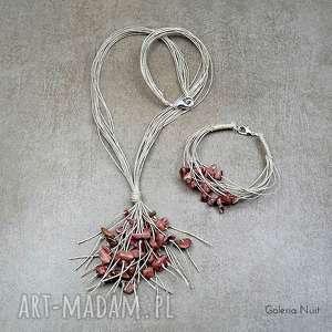 Rodonit - biżuteria lniana, rodonit, komplet, naturalny, oryginalny, len, delikatny