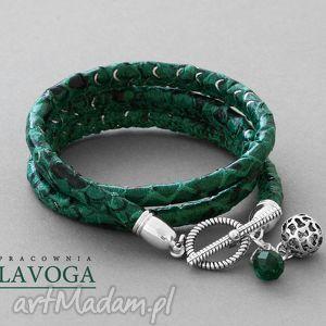 snake bracelet in emerald - rzemień, zawieszka