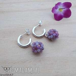 rubinowe kuleczki - kolczyki, srebrne kolczyki z kamieniami, biżuteria