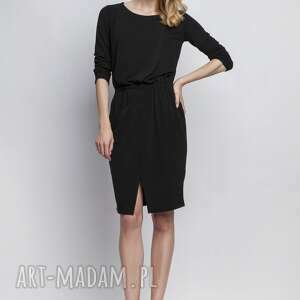 lanti urban fashion sukienka, suk109 czarny, asymetryczna, casual