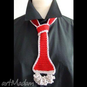 Prezent krawat - pasek czerwony damski, krawat, pasek, dzianina, prezent