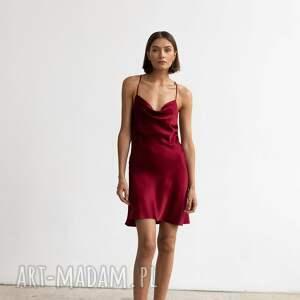 sukienki satynowa sukienka grace mini bordowa s, m