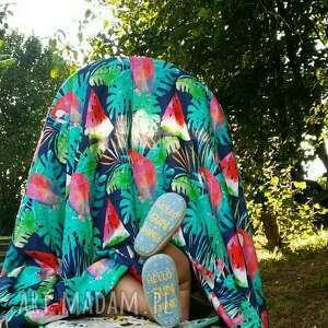 OTULACZ BAMBUSOWY Papugi Granat 75x100, bambus, bambusowy, otulacz, kocyk, letni