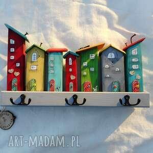wieszaki multikolorowe domki - wieszak, drewniane domki, malowane ręcznie