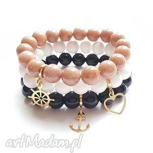 unikalny prezent, cudny komplet, ster, kotwica, serce, charms, złoto, kamienie