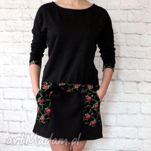 43ee688b1a czerwone sukienki Dresowa sukienka tunika folk folklor cleo kwiaty