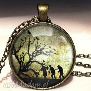 zombie - duży medalion z łańcuszkiem - medalion, naszyjnik, zombie, horror