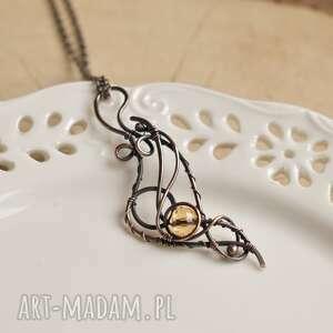 fala - naszyjnik ze szklanym kryształkiem, z miedzi, biżuteria
