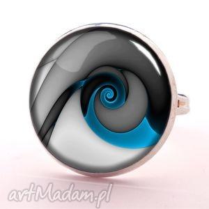 niebieski ślimak - pierścionek regulowany, nowoczesny, prezent