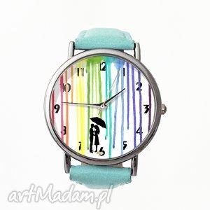 barwy miłości - skórzany zegarek z dużą tarczą, farba, zegarek, deszcz, romantyczny