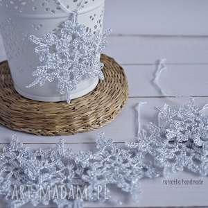 srebrne śnieżynki - 6 szt - ozdoba świąteczna, śnieżynka