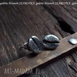 COFFEE TIME kolczyki ze srebra, srebro, oksydowane, ziarno, kawa, sztyfty