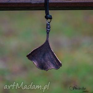 ginkgo - naszyjnik z prawdziwym liściem miłorzębu, naszyjnik, wisior, miedź