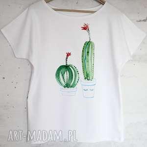 bluzki kaktusy koszulka bawełnina biała z nadrukiem s/m, bluzka, koszulka
