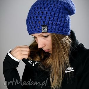mono 11 - czapka, zima, wełna, szydełko, chabrowy, ciepła