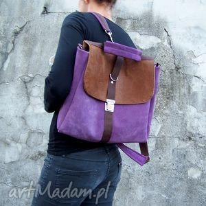 plecak / torba liliowo-brązowa, plecak, torba, zamsz, skóra, 2w1, liliowy