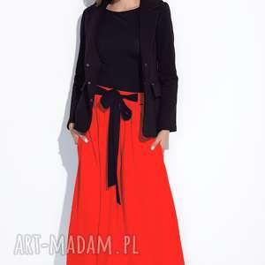 Długa czerwona spódnica z kokardą, maxi, długa, do-kostek, wiązana, z-kokardą