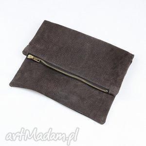 kopertówka ze skóry naturalnej brązowa torebka do ręki skórzana, kopertówka, skórzana