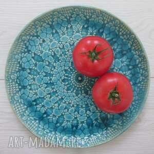 Turkusowa patera z koronką ceramika ana turkusowy talerz, talerz