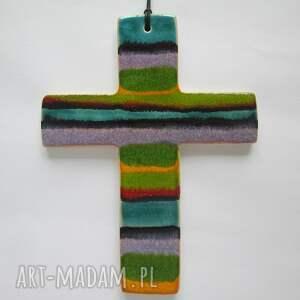krzyżyk ceramiczny - ,krzyż,kolorowy,ceramika,komunia,chrzciny,dewocjonalia,