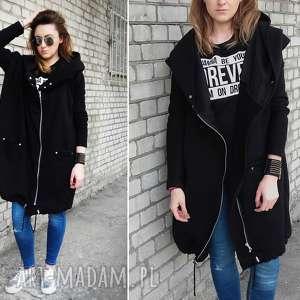 Długa czarna bluza oversize z ogromnym kapturem XL, bluza-dresowa, czarna-bluza