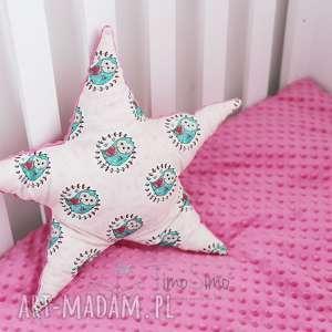 handmade pokoik dziecka poduszka minky gwiazdka (różowy - mądra sowa)