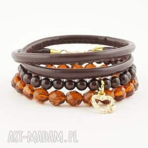 abbozzo caramel in dark chocolate, bransoletka, szkło, plastik, rzemień