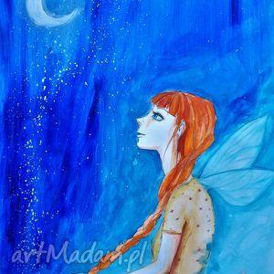 praca akwarelą i piórkiem full moon artystki plastyka adriany laube, elf, ruda