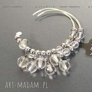 SREBRO, kolczyki fasetowane kryształy górskie, kryształ, srebro, obręcze,