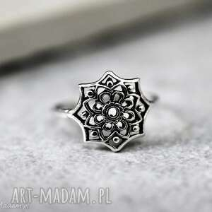 925 srebny pierścionek ornament - onament, orient, gwiazda, 925, srebro
