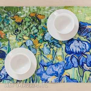 podkładki irysy, van gogh - bieżnik na stół, podkładki, gogh, kwiaty, prezent