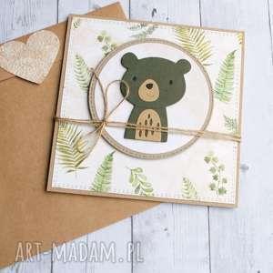 hand made kartki miś leśny:: kartka na roczek, urodziny