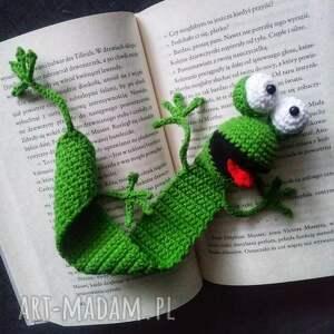 szydełkowa zakładka żaba, zakładka, prezent, szydełko, włóczka, rękodzieło