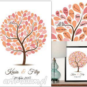 albumy kolorower drzewo gości weselnych - plakat artystyczny, drzewo, ksiega
