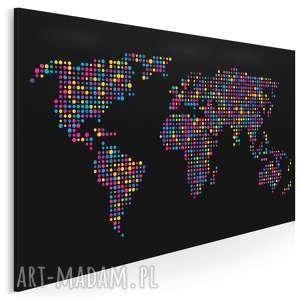 obraz na płótnie - mapa kropki czarna 120x80 cm 13202, mapa, kropki, kółka