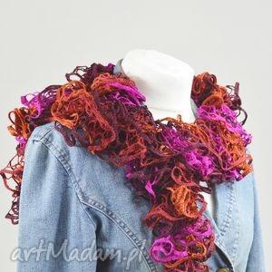 fantazyjny szal - rudy z fuksją - szalik, szal, kobiecy, rudy, modny, designerski