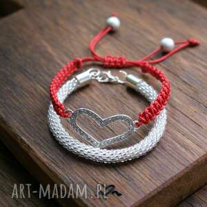 bransoletki heart red set- zestaw bransoletek, koralikowa, makrama